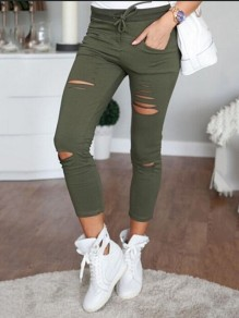 Green Cut Out Drawstring Ripped Destroyed Bodycon Going out Pants