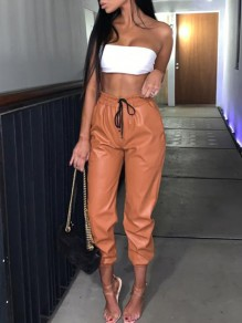 Brown Pockets Elastic Waist Lace-up High Waisted PU Leather Casual Long Pants