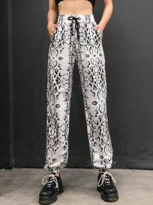 Black White SnakeSkin Print Pockets Drawstring High Waisted Fashion Long Pants
