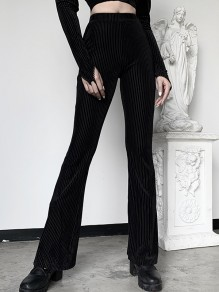 Black Corduroy High Waisted Vintage Long Flare Pants