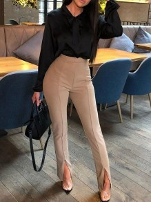 Khaki Irregular Slit High Waisted Fashion Pant