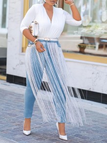 Blue Patchwork Long Tassel Pockets Buttons High Waisted Washed-out Long Jeans