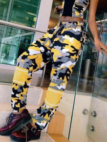 Yellow Camouflage Pattern Pockets Drawstring High Waisted Haren Cargo Long Pants