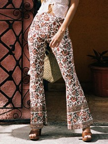 White Orange Floral Pattern High Waisted Vintage Long Pants