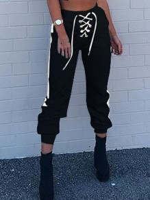 Black Drawstring Lace Up Pocket High Waisted Fashion Jogger Long Sweat Pants