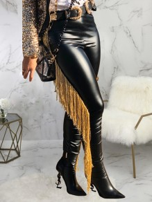 Black Patchwork Tassel High Waisted PU Leather Cowboy Long Pants