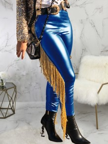 Blue Patchwork Tassel High Waisted PU Leather Cowboy Long Pants
