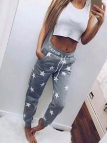 Grey Star Print Pocket Drawstring High Waisted Boyfriend Long Pants