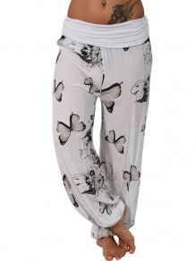 White Butterfly Print Plus Size High Waisted Casua Loungewear Lounge Bottoms Pant