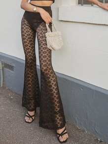 Black Floral Lace Cut Out High Waisted Flare Bell Bottom Flare Sheer Long Pants