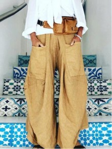 Khaki Patchwork Pockets Wide Leg Mid-rise Fashion Pants