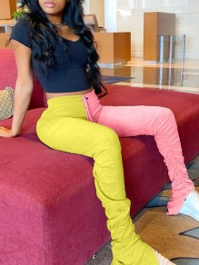 Yellow-Pink Patchwork Drawstring Waist High Waisted Ruched Slit Sports Long Pants