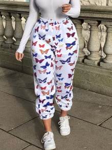 White Buttergly Print Pockets High Waisted Long Sweatpants