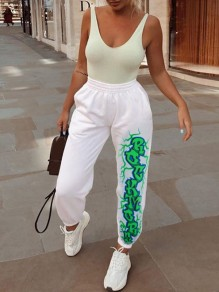 "White Green ""ROCK MORE"" Print Pockets Elastic Waist Long Sweatpants"