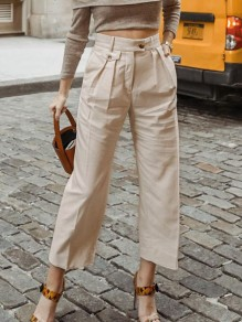 Beige Pocket High Waisted Loose Elegant Long Pants