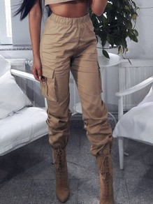 Khaki Pocket High Waisted Loose Boyfriend Fashion Long Pant