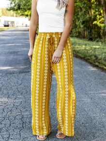 Yellow Geometric Print Drawstring High Waist Bohemian Long Pants
