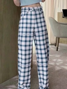 Blue White Plaid Print Pockets High Waist Fashion Long Pants