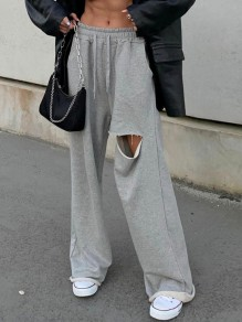 Grey Cut Out Drawstring Pockets High Waisted Sports Wide Leg Long Pants