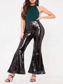 Black Patchwork Sequin High Waisted Flare Bell Bottom Glitter Sparkly Birthday Party Long Pants