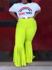 Yellow Draped High Waisted Extreme Flare Bell Bottom Vintage Plus Size Long Pants