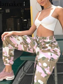 Pink Camouflage Print Pockets Belt Casual Long Cargo Pants