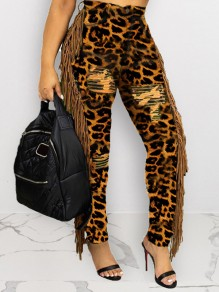 Brown Leopard Print Buttons Patchwork Tassel High Waisted Long Pants