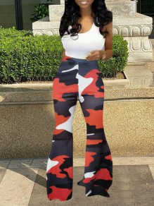 Red Camouflage Print Elastic Waist High Waisted Big Flare Bell Bottom Casual Long Pants