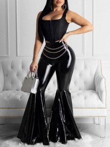 Black Draped PU Leather High Waisted Extreme Flare Bell Bottom Latex Long Pants