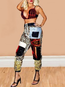 Black Leopard Pattern Sequin High Waisted Sparkly Haren Cargo NYE Party Long Pants