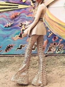 Apricot Sequin Geometric Print High Waisted Glitter Sparkly Birthday Party Flare Bell Bottom Long Pants