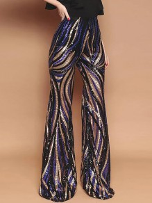 Black Patchwork Colorful Sequin Grenadine Print High Waisted Glitter Sparkly Flare Bell Bottom Long Pants