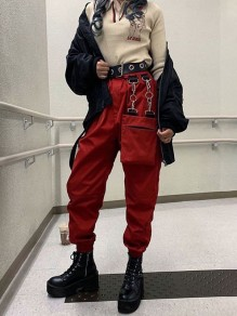 Red Patchwork Chain Multi Way Mid-rise Fashion Punk Pants
