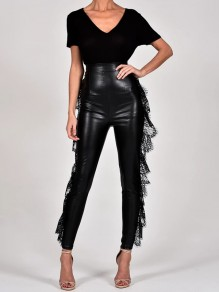 Black Patchwork Lace Cut Out High Waisted PU Leather Vinyl Skinny Long Pants
