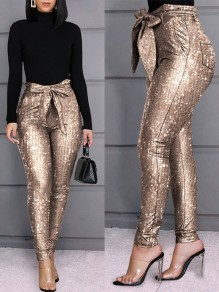 Champagne Patchwork Sequin Belt Lace-up High Waisted Glitter Sparkly Christmas Long Pants