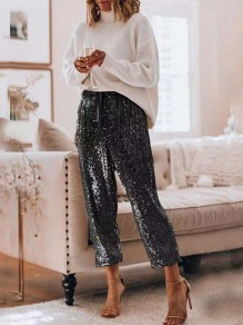 Black Sequin Drawstring High Waist Loose Glitter Sparkly Birthday Party Long Pants