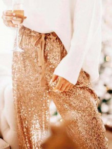 Apricot Sequin Drawstring High Waist Loose Glitter Sparkly Birthday Party Long Pants