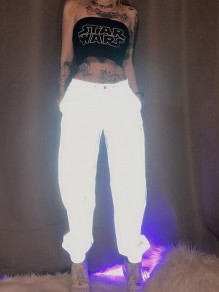 Silver Pockets Buttons High Waisted Reflective Fashion Long Pants