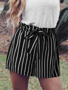 Black Striped Belt High Waisted Fashion Short Pant