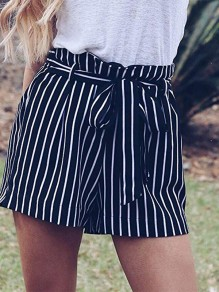 Dark Blue Striped Belt High Waisted Fashion Short Pant
