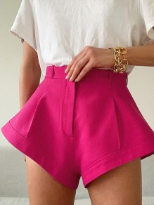 Rose Carmine High Waisted Fashion Streetwear Shorts Pants
