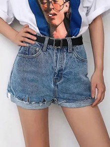 Light Blue Pocket Ripped Destroyed High Waisted Fashion Denim Shorts Jeans