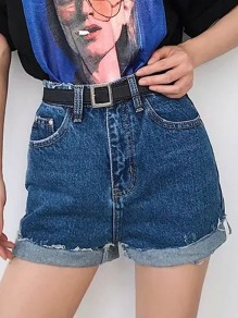 Dark Blue Pocket Ripped Destroyed High Waisted Fashion Denim Shorts Jeans