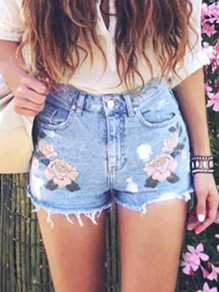 Blue Patchwork Embroidery High Waisted Fashion Jeans Shorts