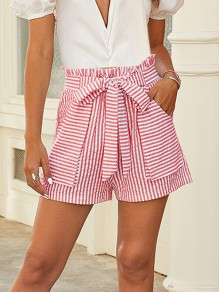 Red Striped Pocket Sashes High Waisted Loose Fashion Shorts