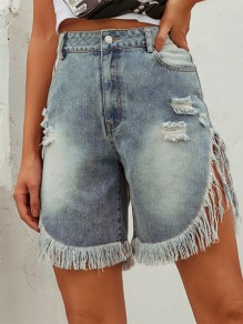 Light Blue Patchwork Tassel Ripped Distressed High Waisted Fashion Retro Short Jeans