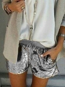 Silver Drawstring Sequin Glitter Sparkly High Waisted Shorts
