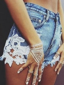 White Lace Pocket Ripped Destroyed High Waisted Fashion Shorts Jeans