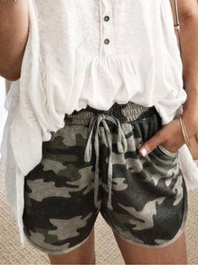 Army Green Camouflage Pocket Drawstring High Waisted Fashion Shorts