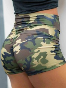 Camouflage Floral Print Ruched Slim Comfy High Waisted Fashion Yoga Sports Shorts
